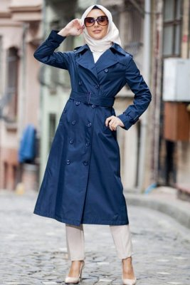 Nevin Marinblå Trenchcoat Miss Cazibe 280597-1