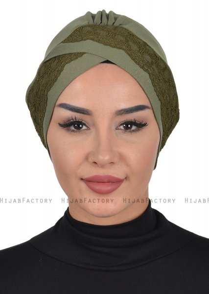 Molly - Khaki Lace Bomull Turban