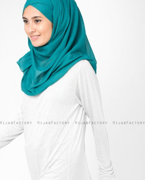 Everglade Teal Bomull Voile Hijab 5TA11